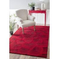 nuLOOM Handmade Bold Floral Wool Red Rug (9' x 12') - 9' x 12'
