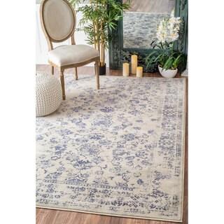 nuLOOM Vintage Floral Vines Blue Rug (9' x 12')