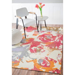 nuLOOM Contemporary Watercolor Roses Multi Rug (5' x 8')