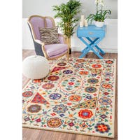 nuLOOM Handmade Country Floral Border Multi Rug - 5' x 8'
