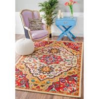 nuLOOM Handmade Native Floral Medallion Red Rug - 7'6 x 9'6
