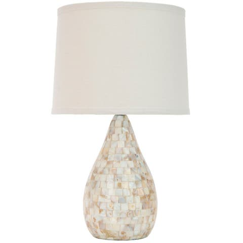"SAFAVIEH Lighting 21-inch Lauralie Cream Ivory Capiz Shell Table Lamp - 12""x12""x20.5"""