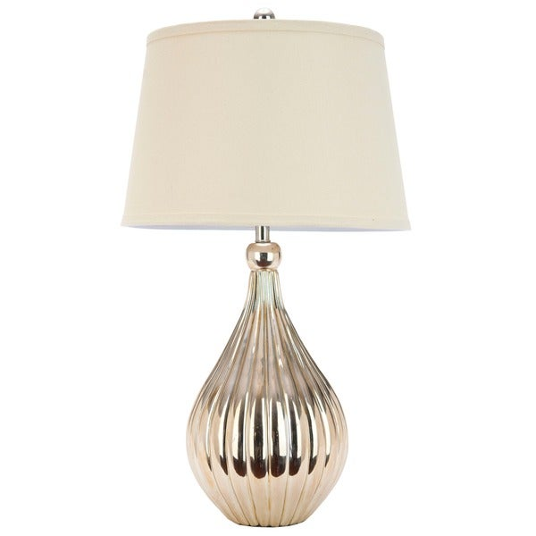 Safavieh Lighting 27.5-inch Elli Champagne White Linen Hard Back Gourd Table Lamp