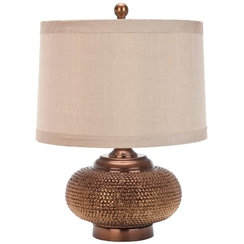 "SAFAVIEH Lighting 19-inch Alexis Taupe Gold Bead Table Lamp - 14""x14""x19"""