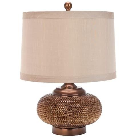 "SAFAVIEH Lighting Alexis Taupe Gold Bead Table Lamp - 14""x14""x19"""