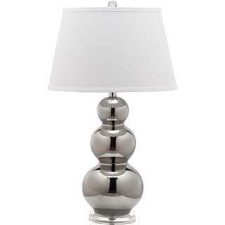 Safavieh Lighting 27-inch Pamela Silver/ White Shade Triple Gourd Ceramic Table Lamp