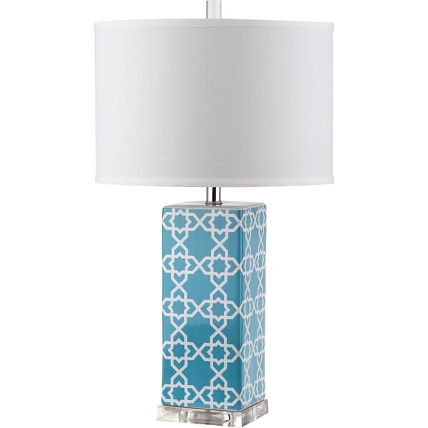 Safavieh Lighting 27-inch Quatrefoil Light Blue Table Lamp