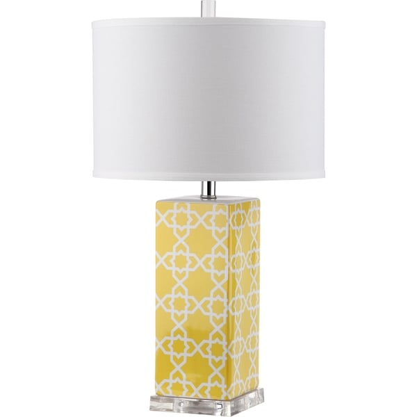 Safavieh Lighting 27-inch Quatrefoil Yellow Table Lamp