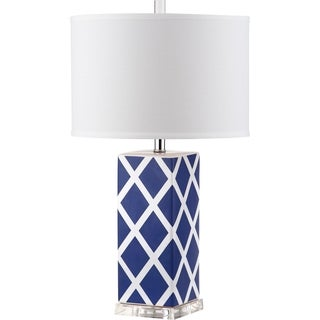 Safavieh Lighting 27-inch Garden Lattice Navy Table Lamp