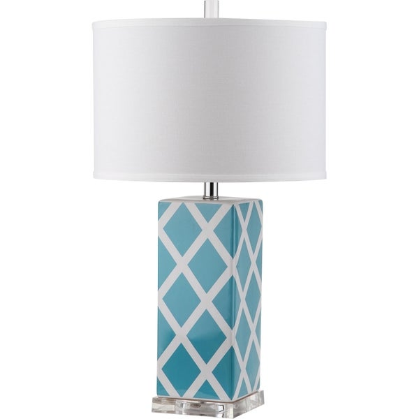 Safavieh Lighting 27-inch Garden Lattice Light Blue Table Lamp