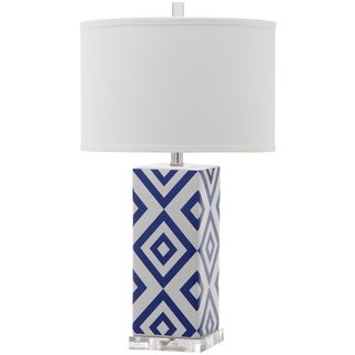 Safavieh Lighting 27-inch Diamonds Navy Table Lamp