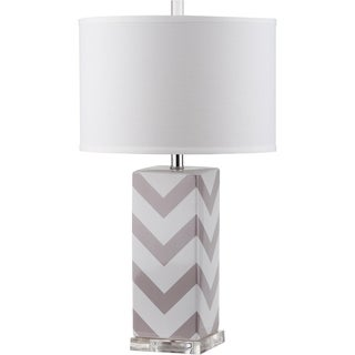 Safavieh Lighting 27-inch Chevron Stripe Grey Table Lamp