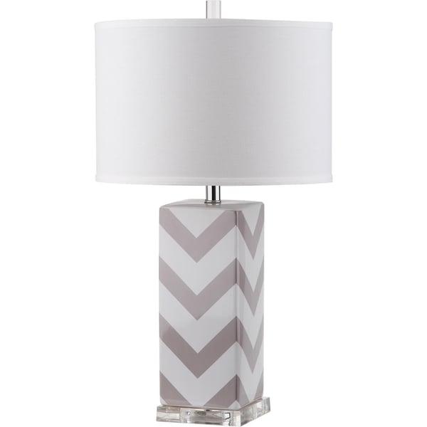 Safavieh Lighting 27-inch Chevron Stripe Grey Table Lamp