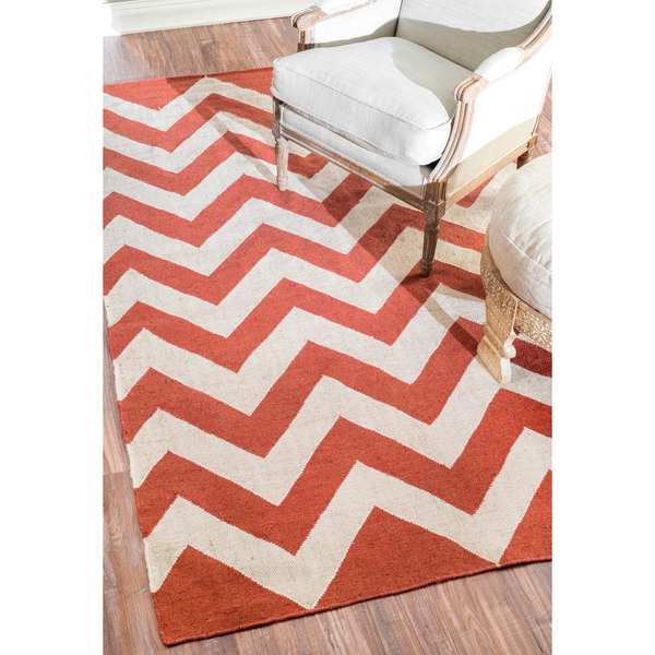 nuLOOM Flatwoven Indoor/ Outdoor Chevron Fancy Red Rug (5' x 8') - 5' x 8'