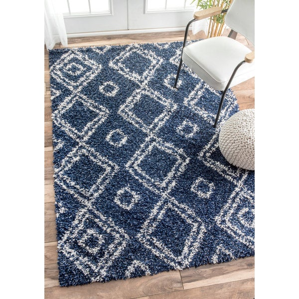 NuLOOM Alexa My Soft And Plush Moroccan Diamond Blue Easy