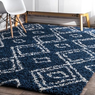 nuLOOM Alexa My Soft and Plush Moroccan Diamond Blue Easy Shag Rug (9'2 x 12')