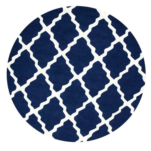Shop NuLOOM Handmade Alexa Moroccan Trellis Wool Navy Rug