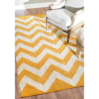 nuLOOM Flatwoven Indoor/ Outdoor Chevron Fancy Yellow Rug (7'6 x 9'6)
