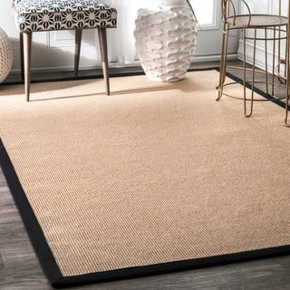 nuLOOM Natural Fiber Reversible Cotton Border Jute Black Rug (3' x 5')