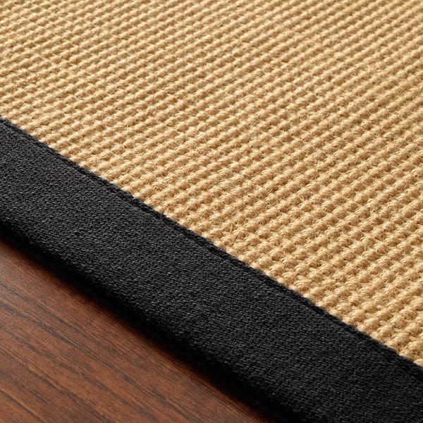 Nuloom Natural Fiber Reversible Cotton Border Jute Black