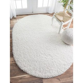 nuLOOM Alexa My Soft and Plush Solid White Shag Rug (5'3 x 7'6 Oval) (Option: White)