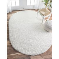 nuLOOM Alexa My Soft and Plush Solid White Shag Rug - 5'3 x 7'6 Oval