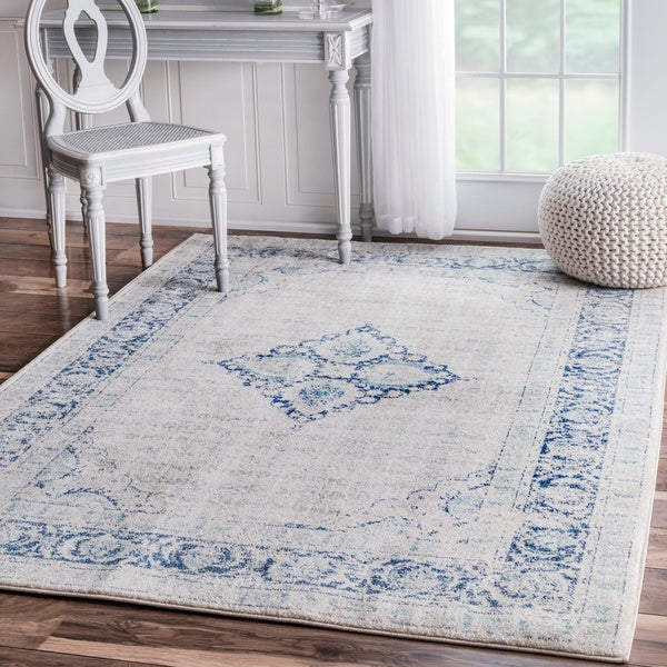 Shop Nuloom Vintage Flower Medallion Light Blue Area Rug