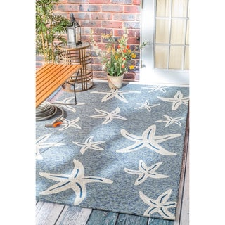 nuLOOM Handmade Coastal Starfish Indoor/ Outdoor Dark Blue Rug (8' x 10')