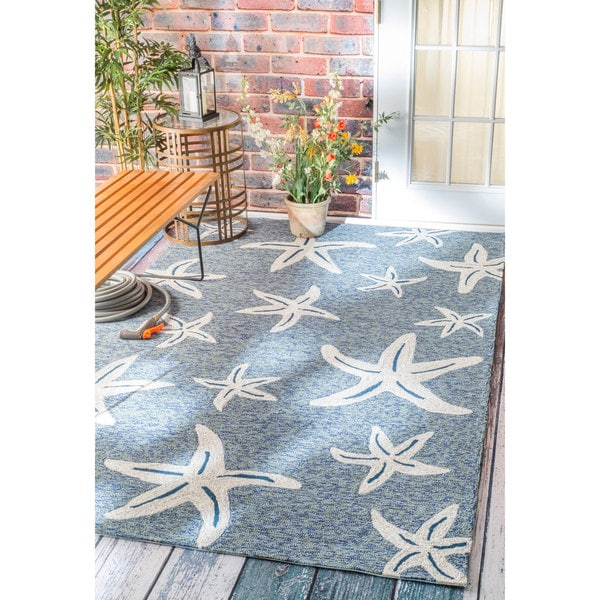Nuloom handmade coastal starfish indoor outdoor dark blue for Dining room rugs 9x12
