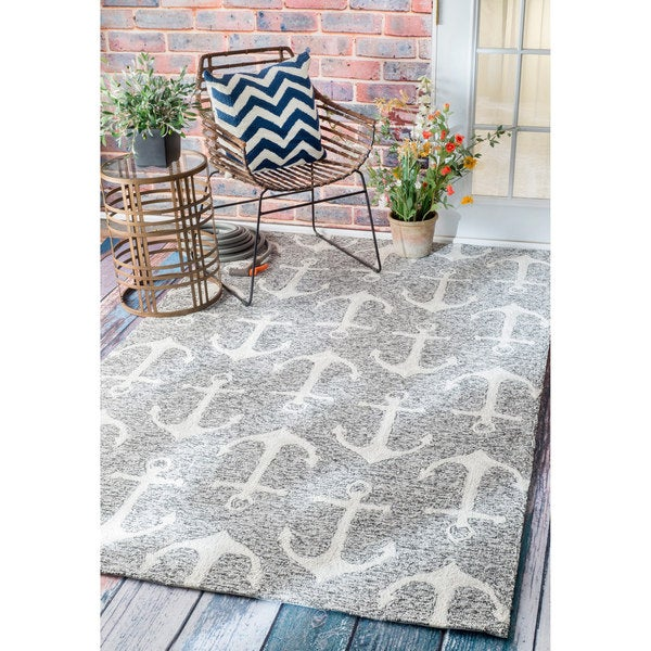 nuLOOM Handmade Nautical Anchors Indoor Outdoor Grey Rug