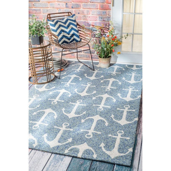 Dog Themed Outdoor Rugs: NuLOOM Handmade Nautical Anchors Indoor/ Outdoor Dark Blue