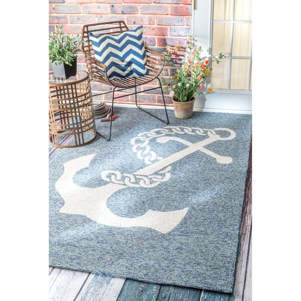 nuLOOM Handmade Nautical Giant Anchor Indoor Outdoor Dark