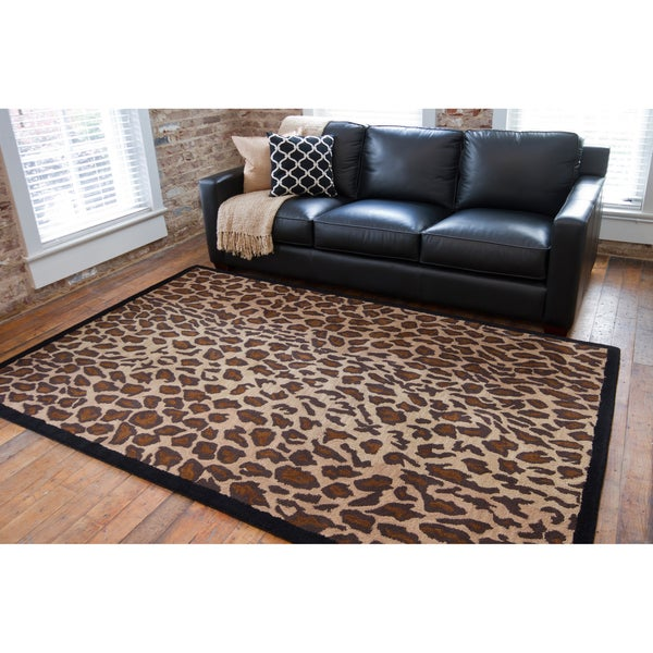 Shop Hand Tufted Brown Leopard Animal Print Safari Wool
