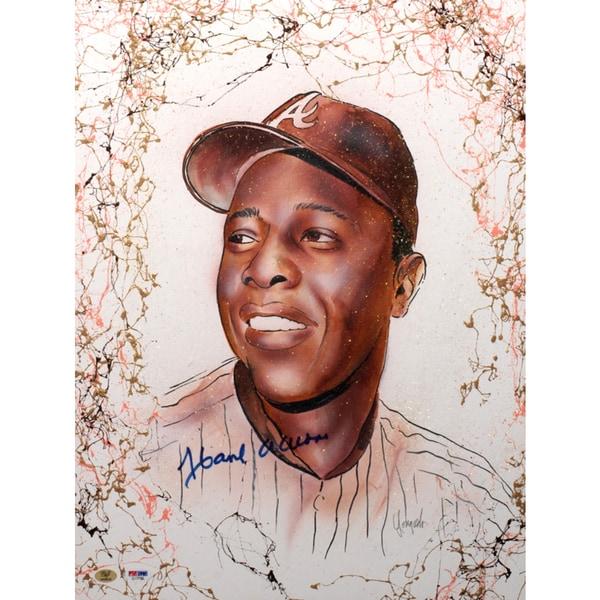 Hank Aaron Autographed Sports Memorabilia Painting by Gary Longordo