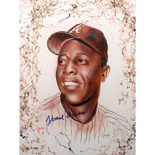 Hank Aaron Autographed Sports Memorabilia Painting by Gary Longordo