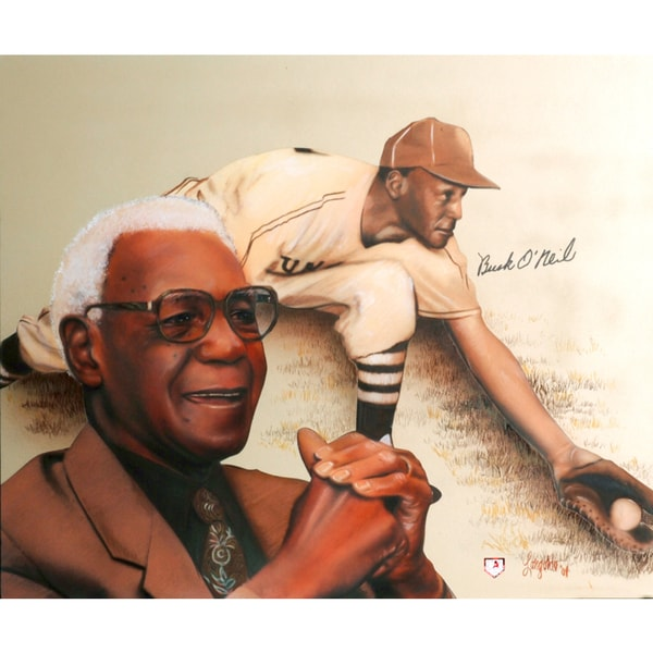 Buck O'Neil Autographed Sports Memorabilia Painting by Gary Longordo