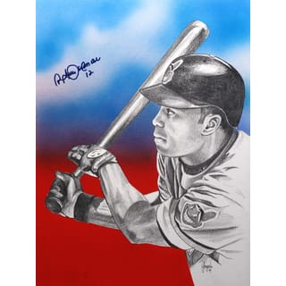 Roberto Alomar Autographed Sports Memorabilia Painting by Gary Longordo|https://ak1.ostkcdn.com/images/products/10805839/P17851794.jpg?impolicy=medium