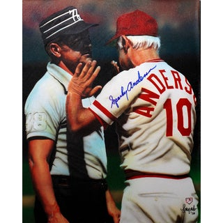 Sparky Anderson Autographed Sports Memorabilia Painting by Gary Longordo