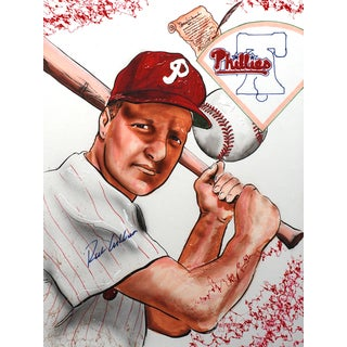 Ritchie Ashburn Autographed Sports Memorabilia Painting by Gary Longordo