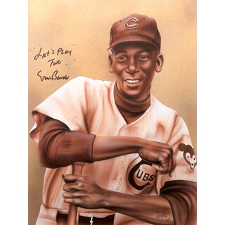 Ernie Banks Autographed Sport Memorabilia Painting by Gary Longordo