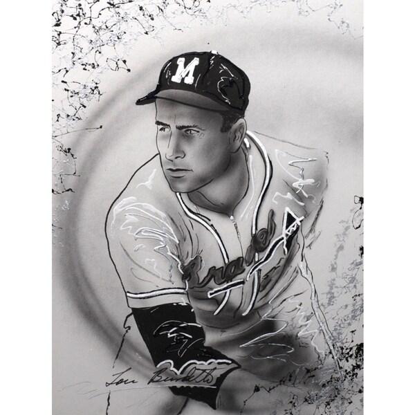 Lou Burdette Autographed Sports Memorabilia Painting by Gary Longordo