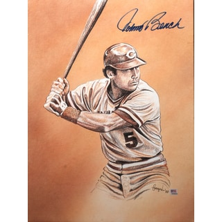 Johnny Bench Autographed Sports Memorabilia Painting by Gary Longordo