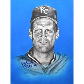 George Brett Autographed Sports Memorabilia Painting by Gary Longordo
