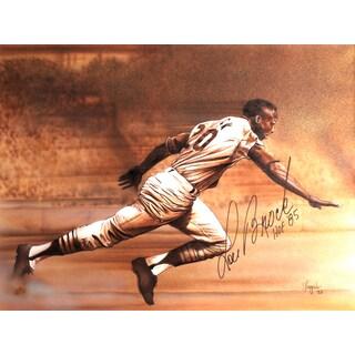 Lou Brock Autographed Sport Memorabilia Painting by Gary Longordo