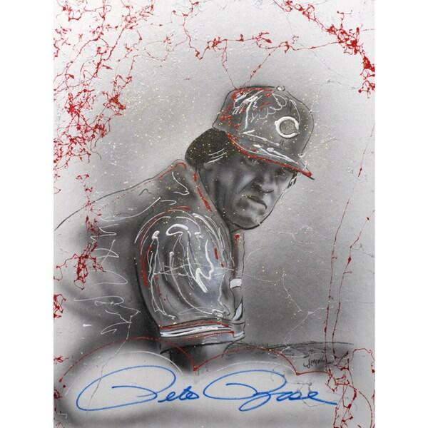 Pete Rose Autographed Sport Memorabilia Painting by Gary Longordo