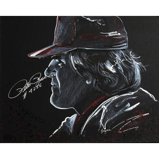 Pete Rose Autographed Sport Memorabilia Painting by Gary Longordo