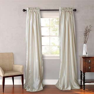 Heritage Landing 96-inch Faux Silk Lined Curtain Panel Pair in Ivory (As Is Item)
