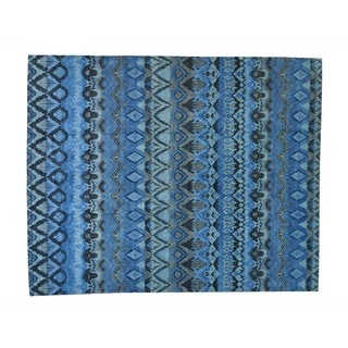 Oversize Blue Ikat Uzbek Hand-knotted Oriental Rug (12'1 x 15')