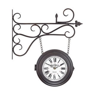 Double Sided Curled Iron Wall Clock