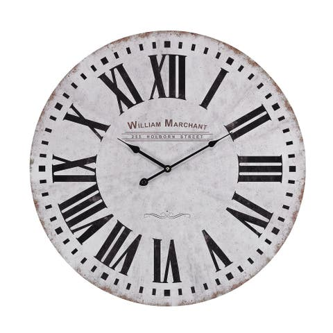 "Sterling Aged White Wall Clock - 24""w x 2""d x 24""h"